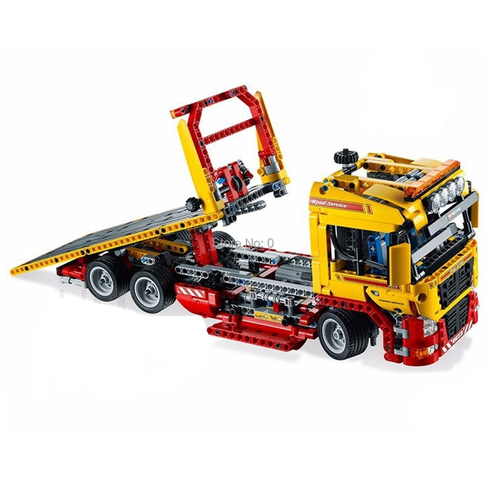 1143pcs technic flatbed trailer car power electric building blocks  8109 Bricks Toy Christmas Shop 2019
