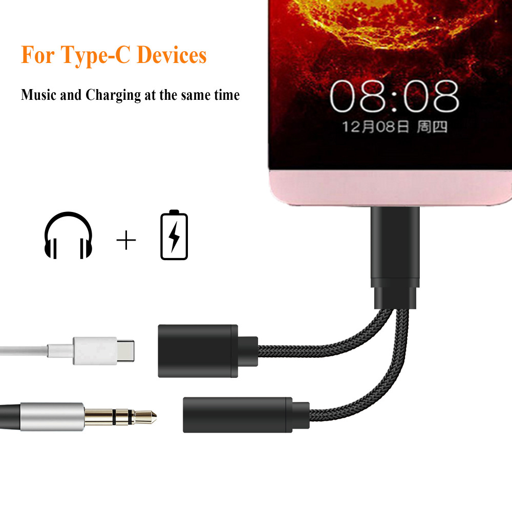 ACCGUYS 2 In 1 USB Type C to 3.5mm Female Audio Jack Headphone Cable Charging Adapter For Letv 2pro Le pro 3 Letv Max 2 Xiaomi 6