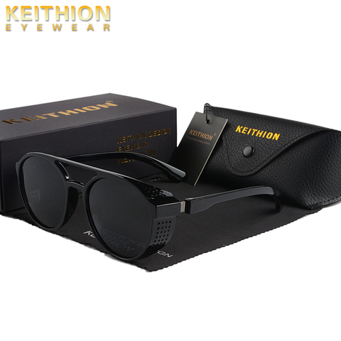 KEITHION Retro Round Polarized Sunglasses Steampunk Men Women Brand Designer Glasses Oculos De Sol Shades UV Protection Lahore