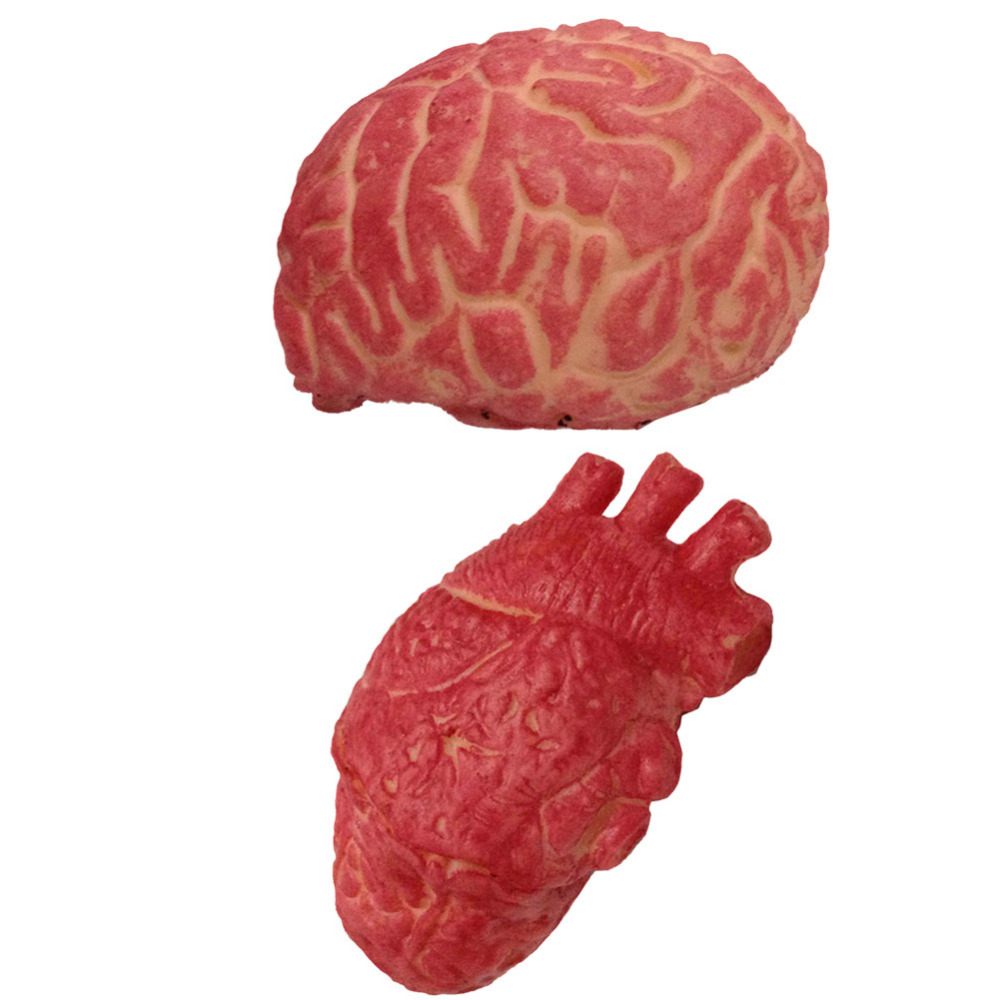 1pc halloween horrible bloody severed horror scary human heart brain lifesize scary fake rubber gory body