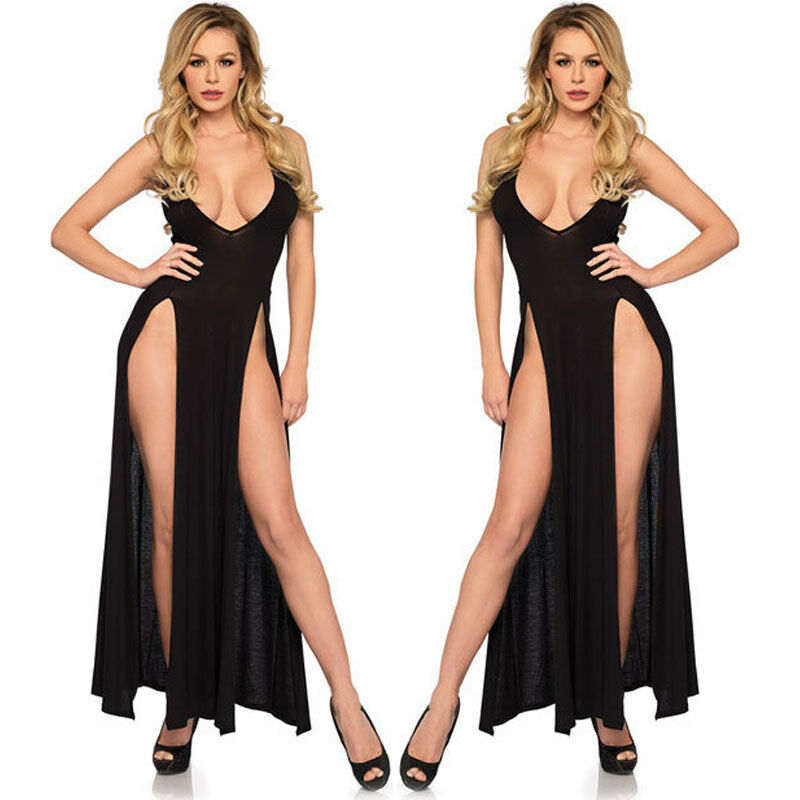 Sleepwear Gauze Low E8-01 High Slit Cut Dress Sexy Sleeveless Maxi Long Women
