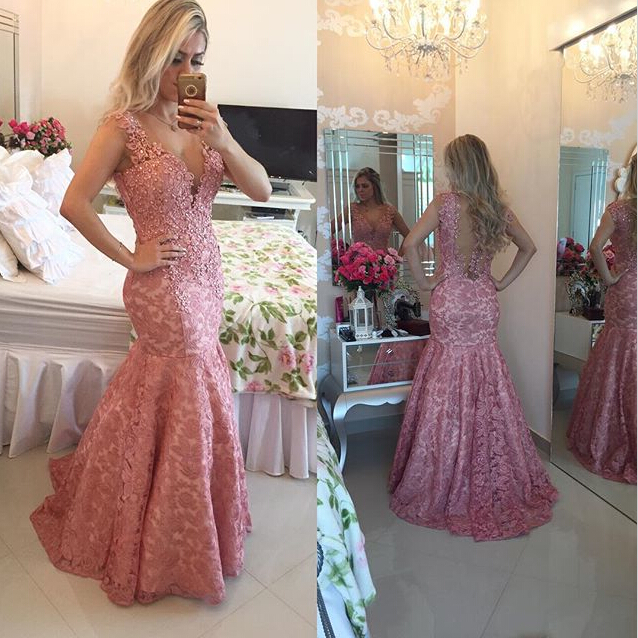 2017 Atelier Lace Meimard   Prom     Dresses   Floor Length Sexy V-neck Lace Appliques Evening Gowns