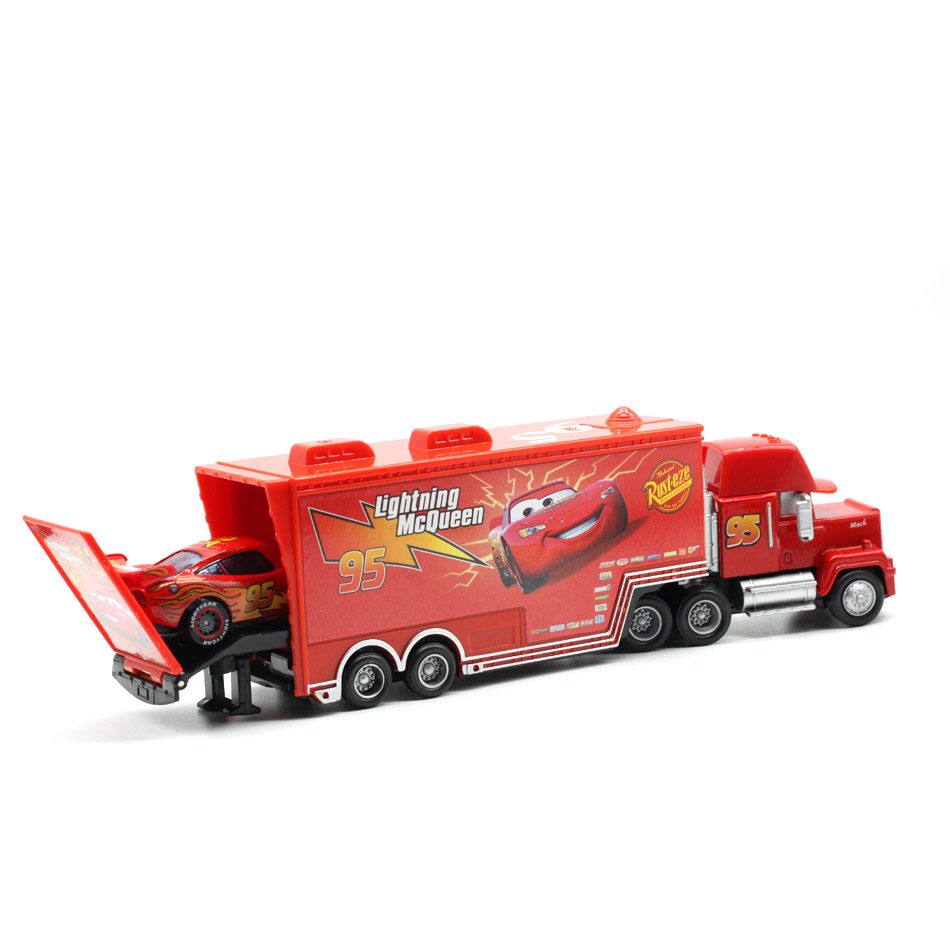Купить с кэшбэком Disney Pixar Cars No.95 McQueen Mack Truck Uncle Diecast Toy Car 1:55 Loose Brand New In Stock & Free Shipping