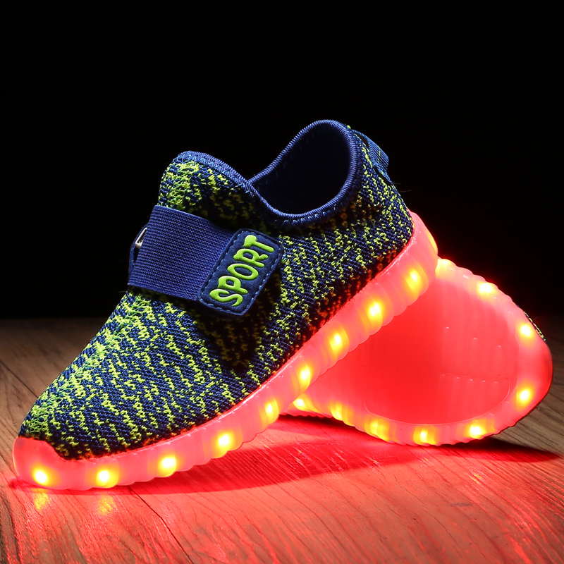 7ae7f441bbeb6 Child Sneakers with Light 7 Colour LED USB Charging Shoes Kids Light Up  Shoes Grey Black Luminous Shoes Boys Girls Glowing Shoe -in Sneakers from  Mother ...
