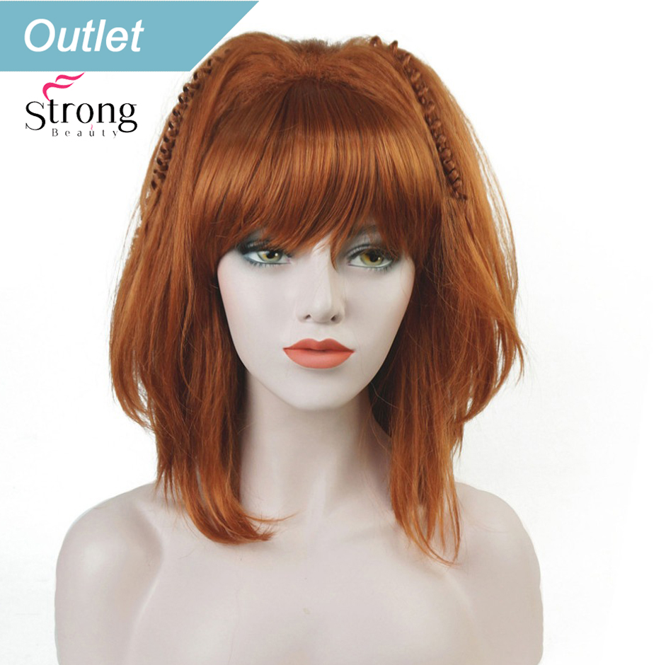 StrongBeauty Cosplay Alla Pugacheva Hairstyle Copper Red Black Blonde Party Wig Halloween Wigs Women's Full Synthetic Hair