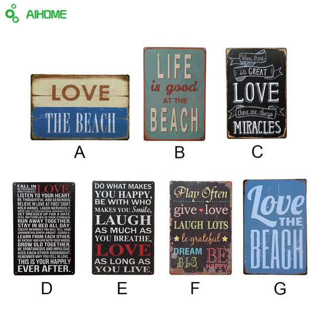 AIHOME Vintage Metal Signs LOVE LIFE Iron Painting Shabby Chic Decor For Cafe Living Room Home Poster Wall Stickers