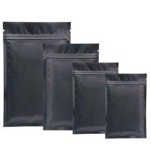 Оптовая продажа матовой черной алюминиевой фольги Ziplock упаковочная сумка металлическая фольга черная молния посылка Сумки порошок кофе сумки для хранения