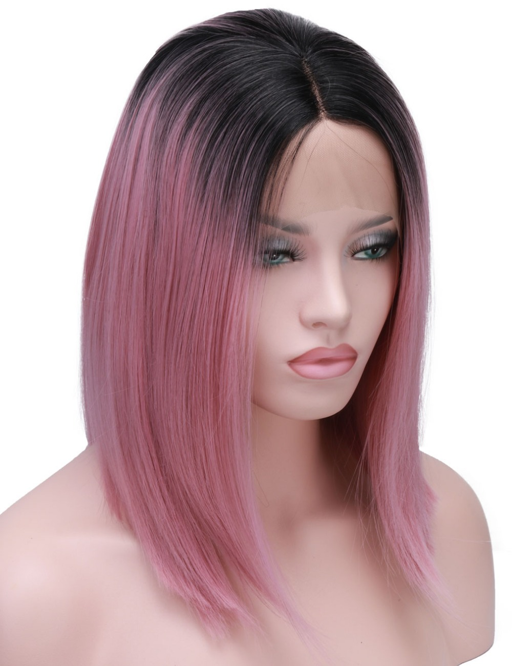 COLODO Short Bob Cut Wigs Ombre Pink Two Tone Color Silk Straight Lace Front Synthetic Wigs Black Roots Heat Resistant For Women