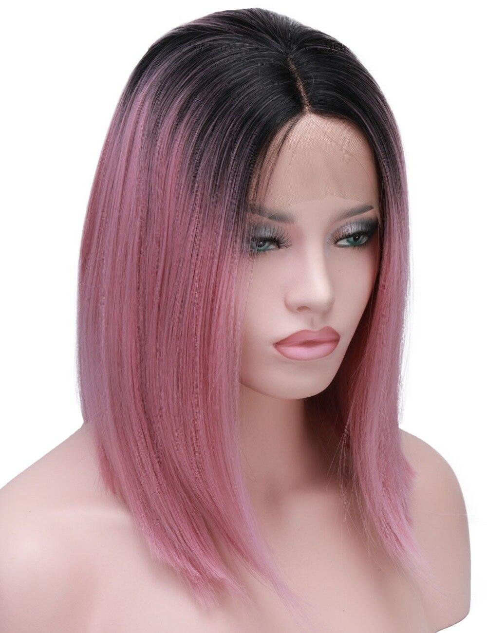 ④Corto Bob peluca Rosa 2 tonos de Color recto sedoso del frente del ...