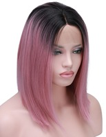 COLODO Short Bob Cut Wigs Ombre Pink Two Tone Color Silk Straight Lace Front Synthetic Wigs