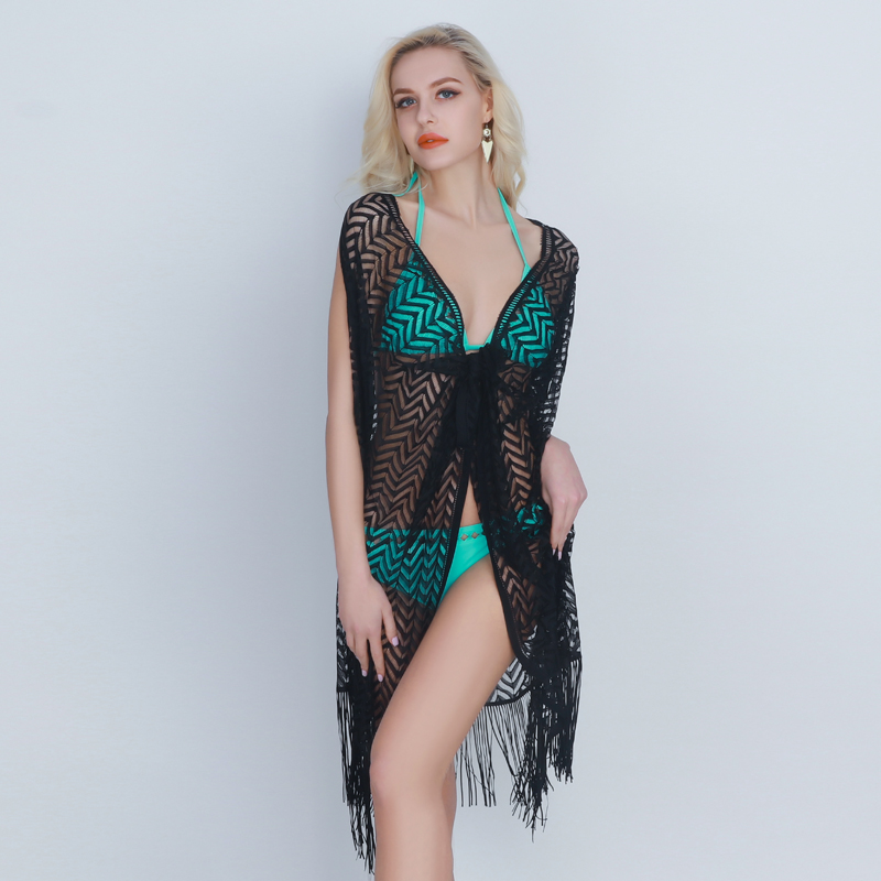 2018 New Beach Cover Up Womens Lace Beachwear Cover Ups Sexy V Neck Bathing Suit Tassel Beach Dress Crochet Kaftan Cardigan