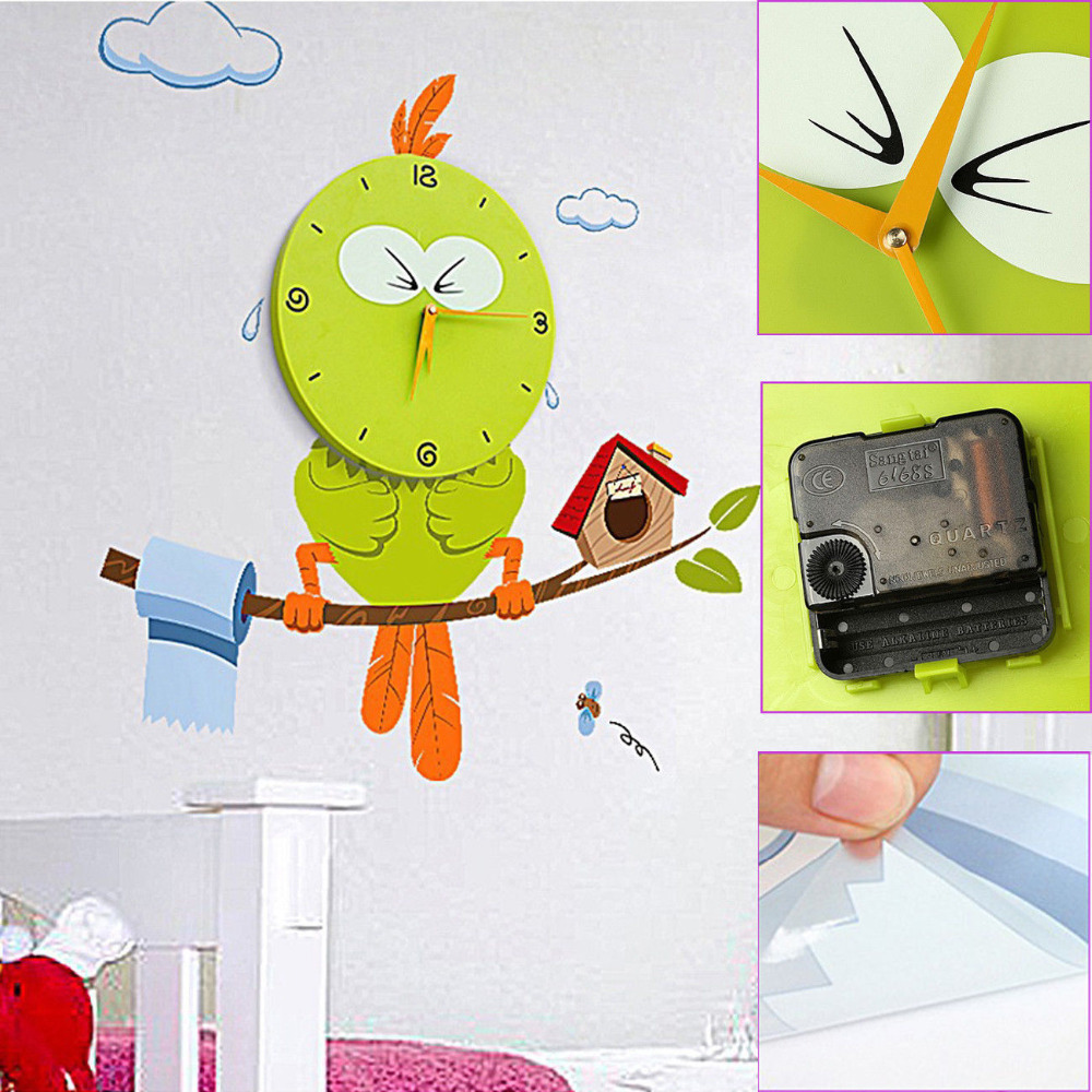 Diy wall sticker clock removable wall sticker wall clock for Kids room clock