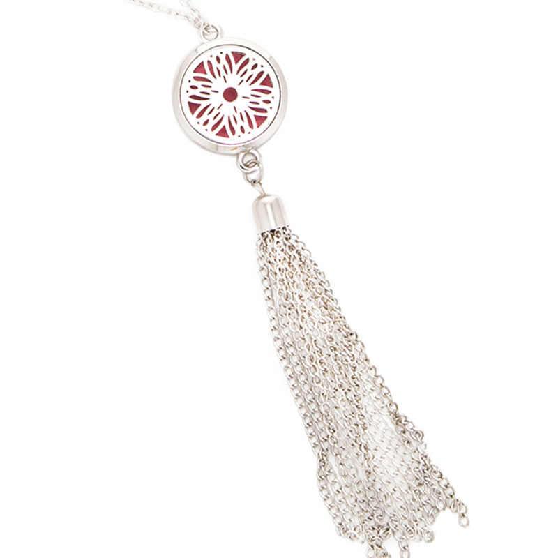 Słonecznik żelazko ze stali nierdzewnej tassel aromaterapia pudełko na naszyjnik damska biżuteria prezent 60 cm naszyjnik + 2 maty SC810-4