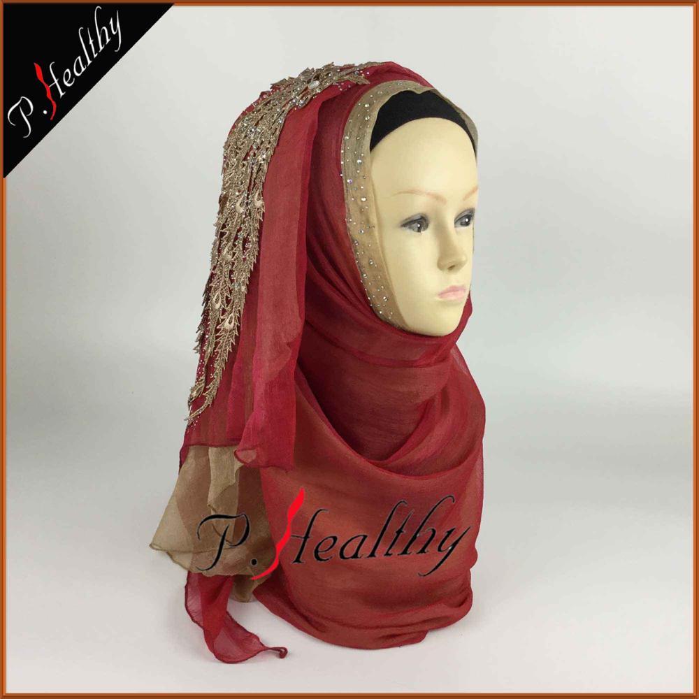 Свадебный хиджаб платок головной убор одежда модная свадебная шаль шарфы Муслин, можно выбрать Цвета, phw001 - Цвет: color1