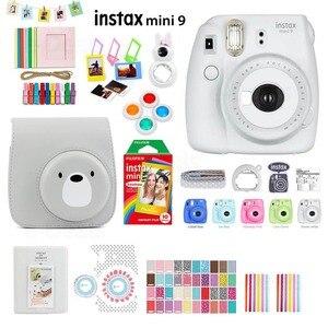 Image 4 - Fujifilm Instax Mini 9 cámara de fotos instantáneas, 5 colores, película arcoíris, Kit de accesorios, funda de PU, álbum, filtro de lente, pegatinas, Marco