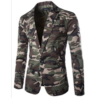 2017 New Spring Mens Blazer Slim Fit Suit Jacket Fashion Men Camouflage Blazer Style Casual Single
