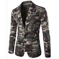 2017 New Spring Mens Blazer Slim Fit Suit Jacket Fashion Men Camouflage Blazer Style Casual Single