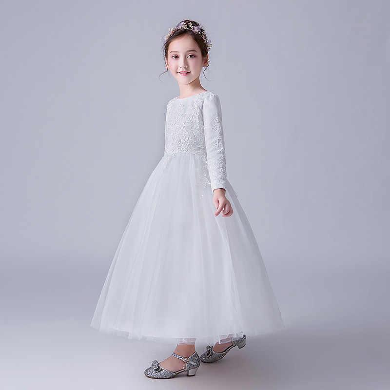 Di alta Qualità Vestito Dalla Ragazza di Fiore Bianco Semplice Lungo Vestido Ragazze Di 2 3 4 6 8 10 12 14 Anni vecchio Formale Vestiti del Bambino 185022