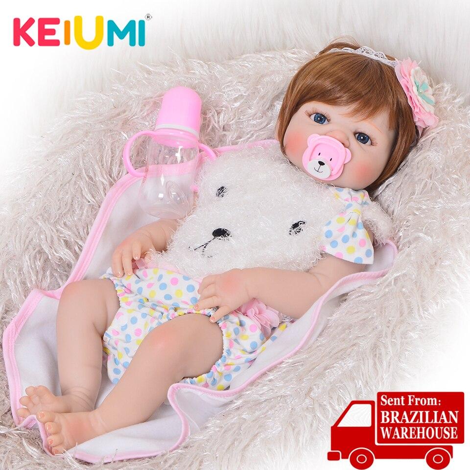 KEIUMI 23 Fashion Silicone Reborn Baby Dolls Full Body Vinyl Realistic Washable Reborn Baby Girl For