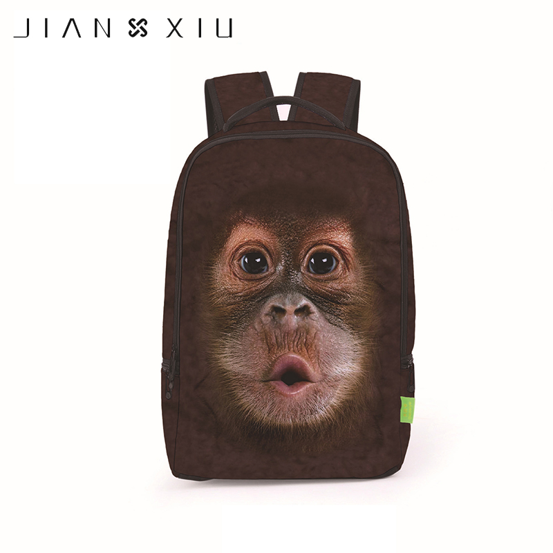 JIANXIU 3D Monke Printing School Bags Backpacks European Style Cartoon Kids Students Schoolbags Fashion Personality Bookbag