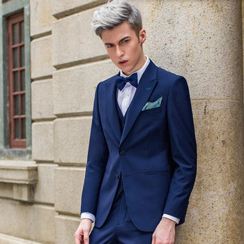 Dark Blue Men Suits Handsome Groom Wedding Suits Custom Made Slim Groomsman Fashion Leisure Tuxedos Suit(Jacket+Pants+Vest+Tie)