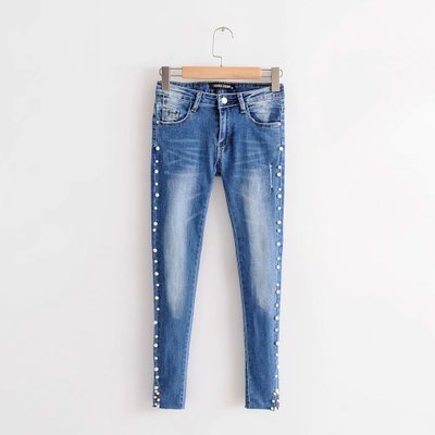 woman jeans embroidered flares beading pencil pants