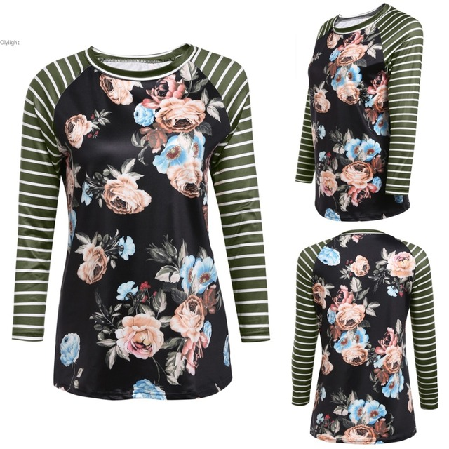 e5e725aa3a women Cotton Full Sleeve T shirts Striped Floral Patchwork Raglan Long  Sleeve T shirt lady Tee Shirt Female pullover T shirt -in T-Shirts from  Women's ...