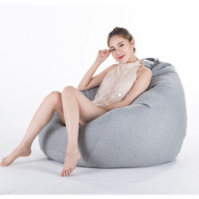 Bean Bag Sofa Cover No Filler Living Room Bedroom Sofa Bed Lazy Casual Tatami Beanbag Chair Couch Cover Pouf Puff Line Cloth(China)