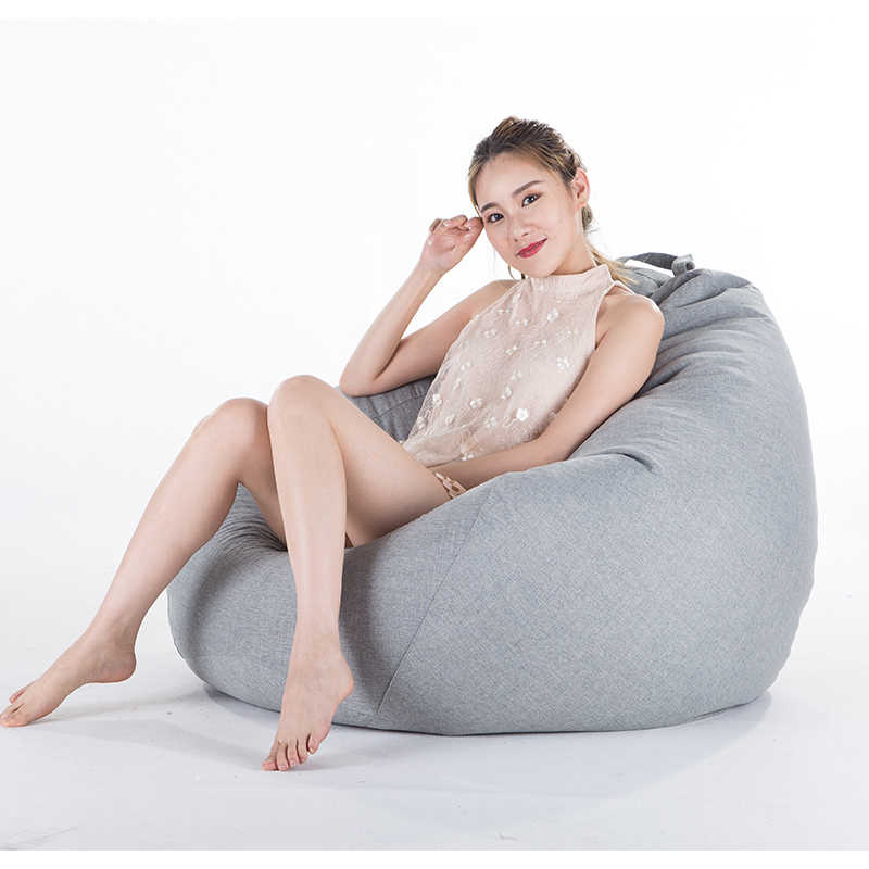 Bean Bag Sofa Cover No Filler Living Room Bedroom Sofa Bed Lazy Casual Tatami Beanbag Chair Couch Cover Pouf Puff Line Cloth