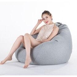 Bolsa de frijol sofá cubierta sin relleno salón dormitorio sofá cama perezoso ocasional Tatami Beanbag silla sofá PUF Puff paño línea