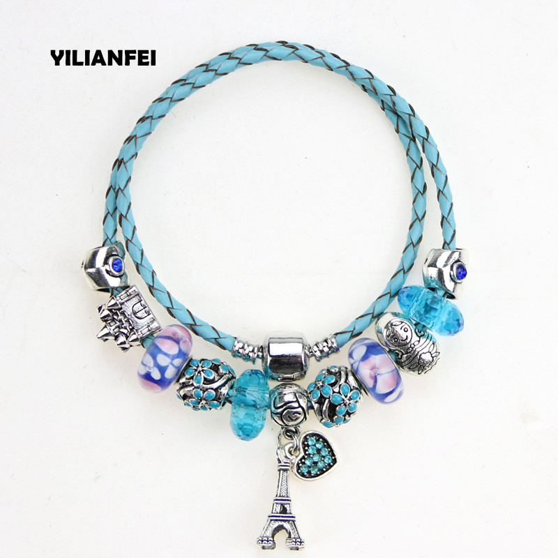 YILIANFEI Argent Plaqué pendentif Coeur Bleu en cuir cordon Mignon Mode Élégante Charme Pandora Bracelets & Bangles Pour Femmes BT0120