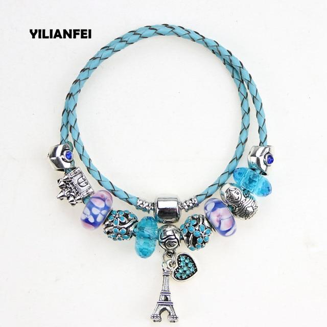 003b2de3b ... where to buy yilianfei silver plated heart pendant blue leather cord  cute fashion elegant charm pandora