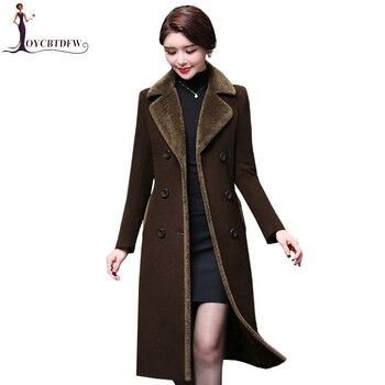 eeea853a14a Осеннее Женское шерстяное пальто 2018 новый большой размер 4XL шерстяная  куртка Женская длинная однотонная Толстая элегантная кашемировая ве.