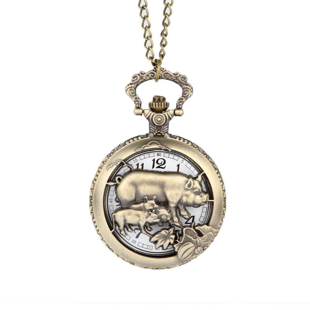 Chinese Zodiac Bronze Pig Quartz Pocket Watch Necklace Pendant Carving Back for Women Men Gifts LXH chinese zodiac bronze pig quartz pocket watch necklace pendant carving back for women men gifts lxh