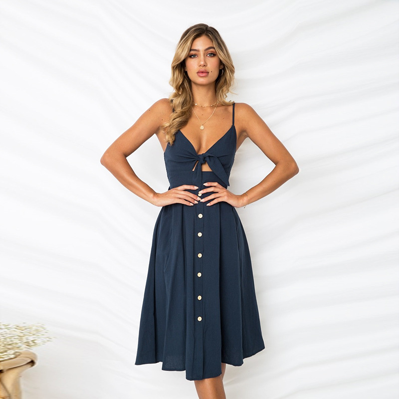 Lossky Sexy Backless Polka Dots Print Beach Summer Dress Women 2020 Deep V Neck Boho Sundress Red White Midi Dresses 5