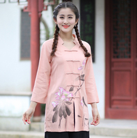 Long Slim Chinese Traditional Women S Cotton Linen Shirt Spring Summer Vintage Flower Blouse Tops S