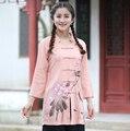 Longo Fino Camisa De Linho De Algodão Do Vintage Primavera Verão das Mulheres do Chinês Tradicional flor Blusa Tops S M L XL XXL XXXL 2620