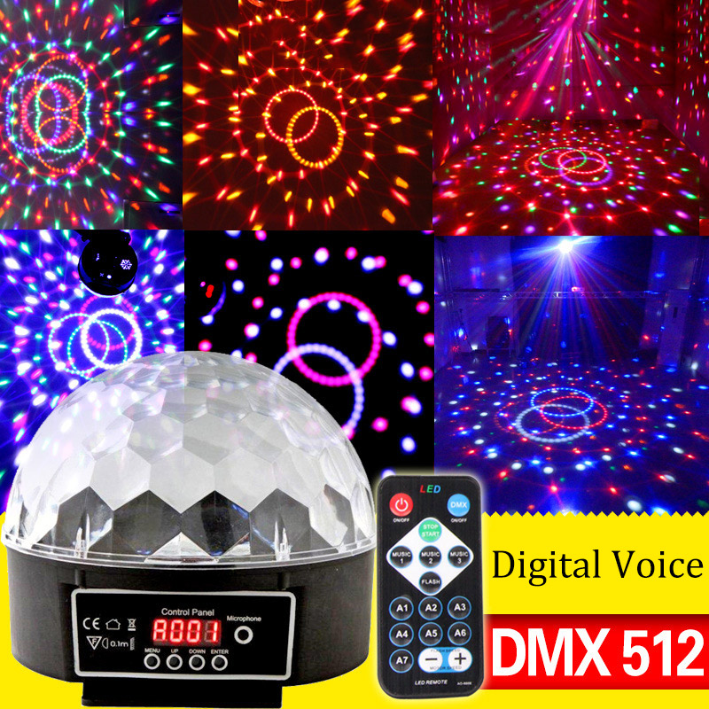 Professional 6 Channel DMX-512 LED RGB Crystal Magic Ball Effect Light Disco DJ Stage Lighting For Audio Video CLH@8 high quality kl audio 12 channel 8 x 4 channel 50 pro audio low profile stage box snake cable 8x4x50