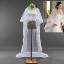 Long 3 Meters One Layer Bridal Veils for Adult Women Bling Sequins Lace Edge Appliqued 1T White Ivory Cheap Wedding