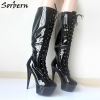 Sorbern Knee High Boots Custom Colors Patent Leather 4Cm Platform Shoes 15Cm Ultra High Heels Cross Tied Party Pole Dance Boots