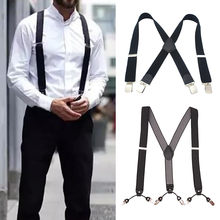 Black Unisex Mens Braces Plain Black Wide Heavy Duty Suspenders Adjustable Men Accessories Soild Color Drop Shipping(China)