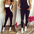 Black Womens Jumpsuits Denim Overalls Casual Skinny Girls Pants Jeans Ankle Length Rompers Fashion Hole Suspender Gallus Rompers