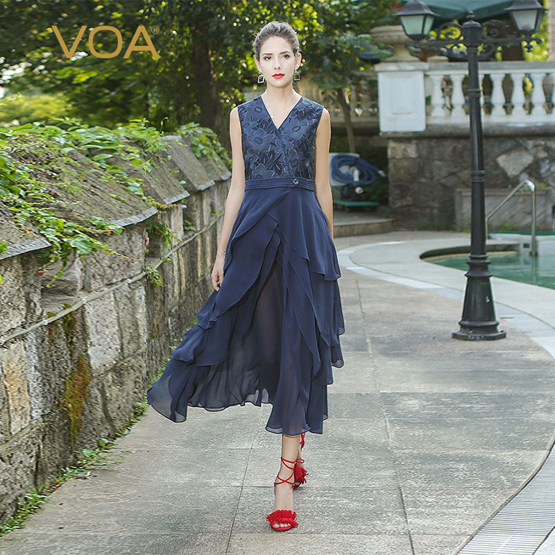 VOA 2018 Autumn Sleeveless Sexy V Neck High Waist Heavy Silk Dress Vintage Navy Blue Ruffles Women's Maxi A Line Dress ALX11101