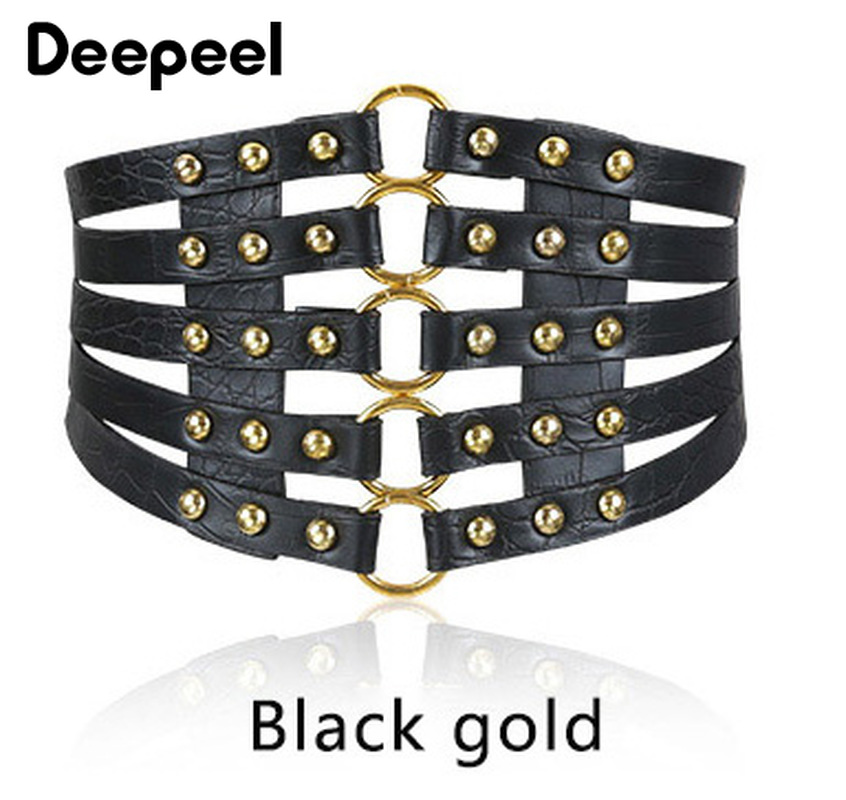 Deepeel 1pc Fashion Retro Hollow Rivet Cummerbunds Ladies Wild Skirt Elastic Belt Garment Decoration Corset Belt PU Twotwinstyle