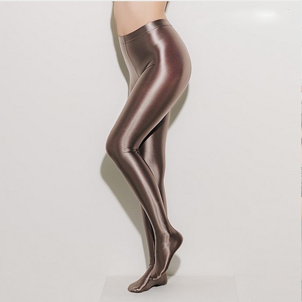 NEST Lady Smoke Gray Pantyhose Sexy Fashion Satin High Waist Jumpsuit Tight Design Women's Fashion Sexy One-piece Pants LEOHEX