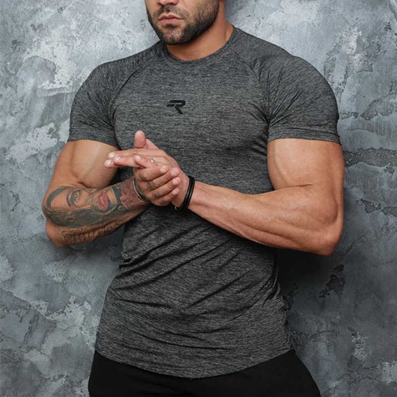 Summer muscle men Fitness brand T-shirt Crossfits gyms Bodybuilding Slim Shirts printed O-neck Short sleeves Tee Tops clothing