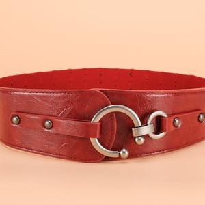 Image 4 - Retro Wide Metal Interlock Buckle Womens Elastic Waist Belt Cinch Elastic Genuine Leather Wide Women Dress Belts Cummerbunds