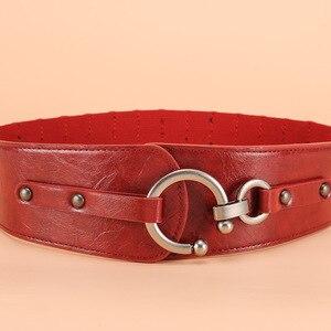 Image 4 - Retro largo metal bloqueio fivela das mulheres elástico cinto de cintura cinch elástico couro genuíno largo vestido feminino cintos cummerbunds