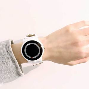Image 2 - Nuevo Producto, reloj de concepto de tendencia sin puntero, marca creativa Simple, relojes para hombre y mujer, reloj femenino
