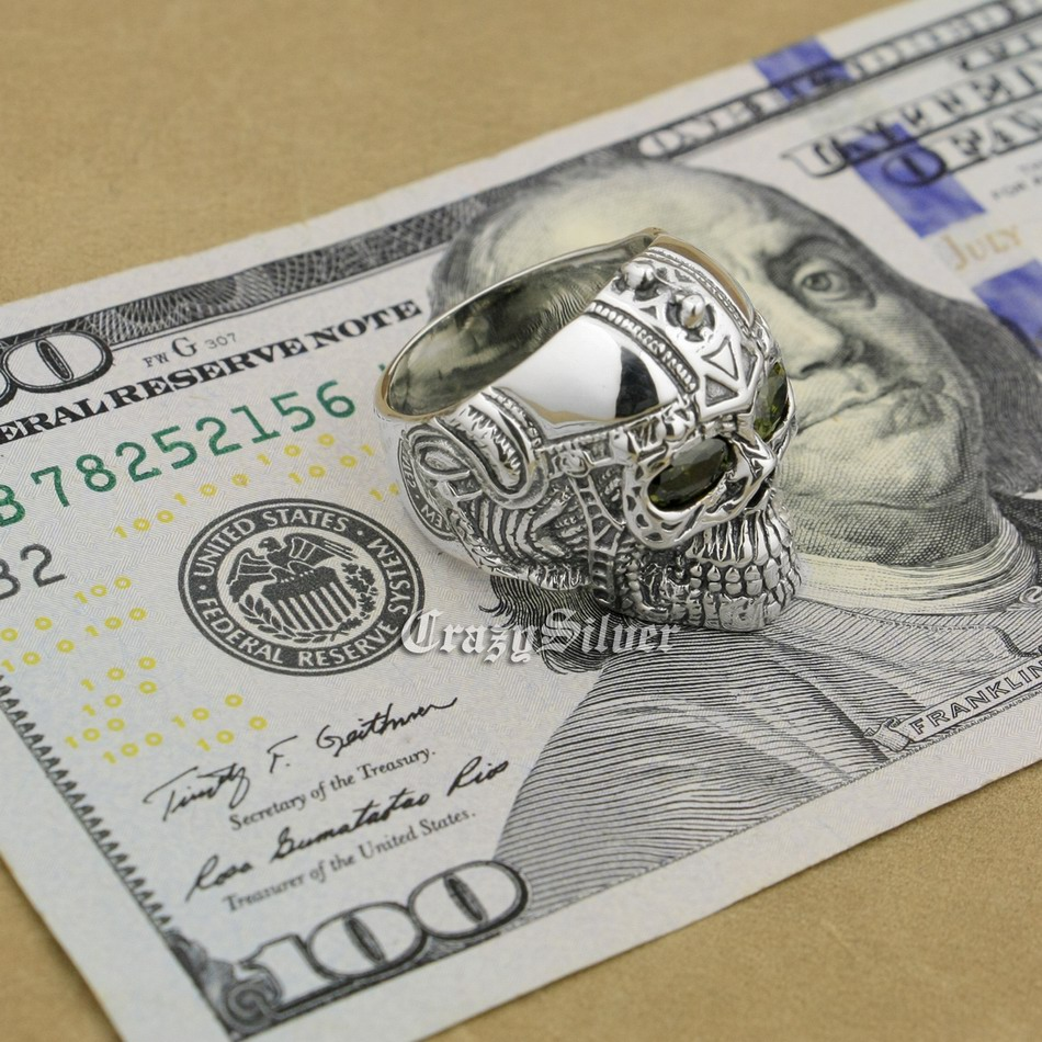 สีดำมะกอกตา925สเตอร์ลิงเงินแบบกอธิคสักกะโหลกบุรุษBiker R Ockerพังก์แหวน9G205สหรัฐขนาด7 ~ 15-ใน ห่วง จาก อัญมณีและเครื่องประดับ บน   3